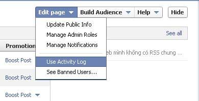 """Đối với fanpage, bạn click vào nút Edit page ở góc trên bên phải màn hình, chọn """"Use Activity Log"""" trong trình đơn xổ xuống"""