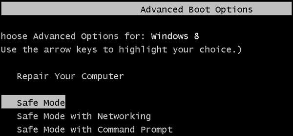 Thiết lập F8 là phím tắt truy cập chế độ Safe Mod trên Windows 8