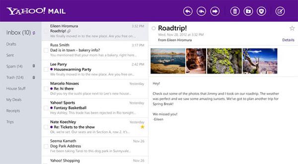 Cải tiến mới của Yahoo Mail trên Windows 8