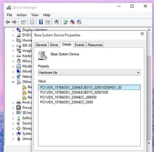 Các bước tìm driver phần cứng Windows