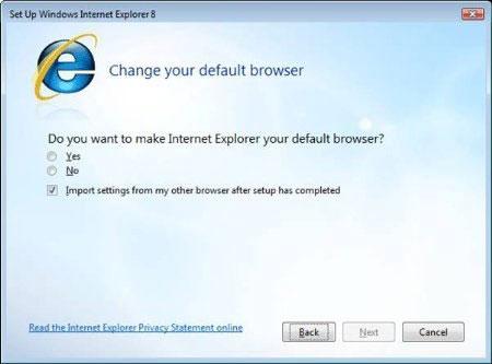 Tùy chọn đặt Internet Explorer 8 làm trình duyệt mặc định