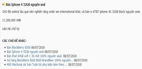 Chưa thể bẻ khóa, iPhone 4 rơi giá tại Việt Nam 1