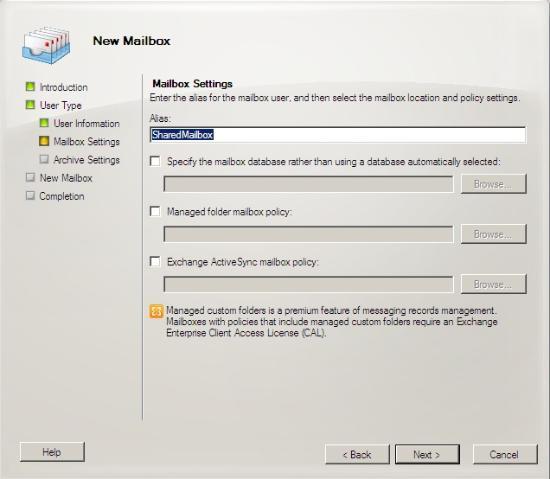 Cấu hình hòm thư chia sẻ trong Exchange 2010