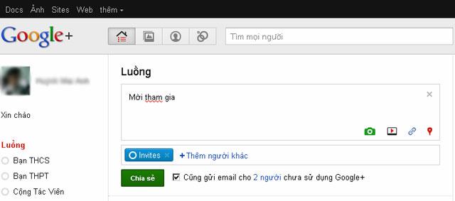 2 cách gửi thư mời tham gia Google+