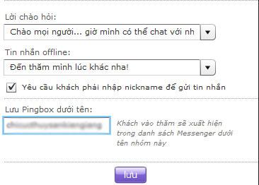 Tạo khung chat Pingbox cho website với Yahoo