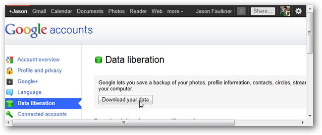 Tải và sao lưu dữ liệu của Google, Google Plus