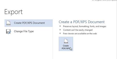 Lưu tài liệu Office 2013 thành file PDF
