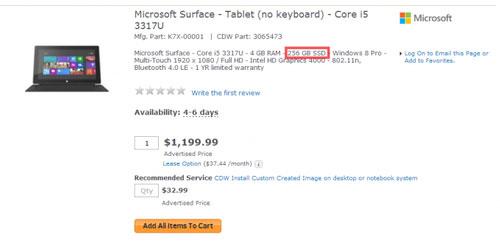 Surface Pro 256 GB giá hơn 25 triệu đồng tại Mỹ
