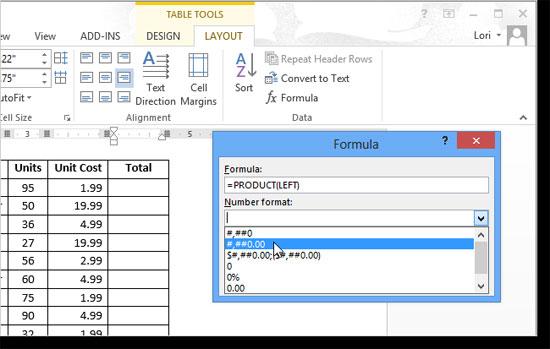 Hướng dẫn tính tổng dòng và cột trong Word 2013