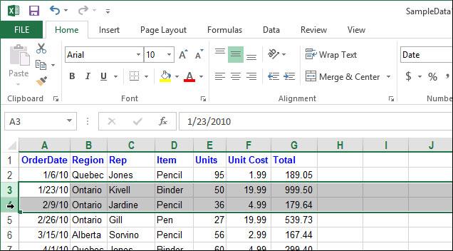 Cách tạm thời ẩn hàng, cột trong Excel 2013
