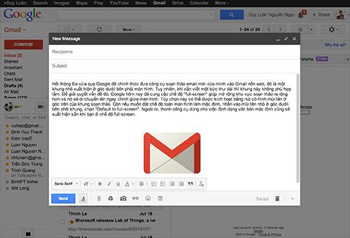 Google bổ sung chế độ soạn thảo toàn màn hình cho Gmail nền web