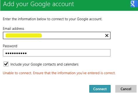 Khắc phục lỗi khi thêm tài khoản e-mail trên Windows 8