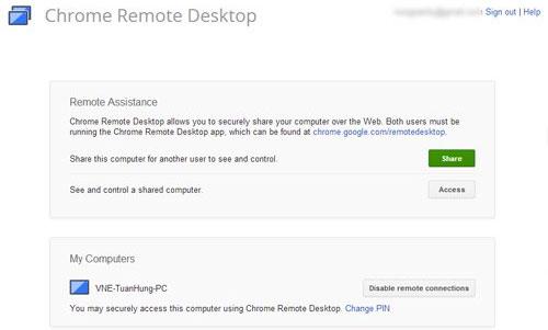 Trình duyệt Chrome thêm tính năng điều khiển máy tính từ xa