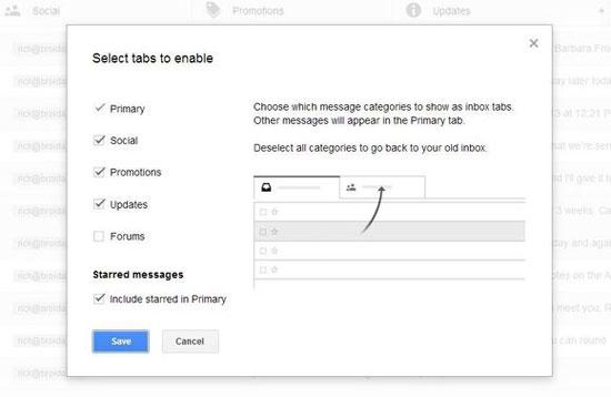 Kích hoạt và vô hiệu hóa một số tính năng mới của Gmail