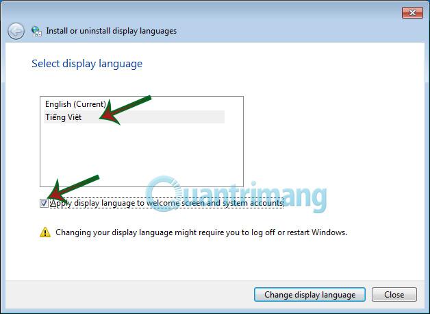 Lựa chọn file ngôn ngữ