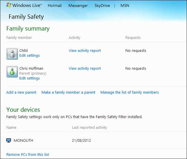Giám sát và quản lý hoạt động máy tính trên Windows 8 Family5
