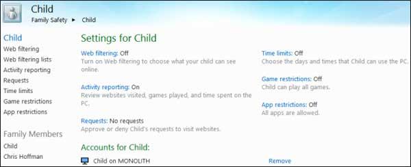 Giám sát và quản lý hoạt động máy tính trên Windows 8 Family8