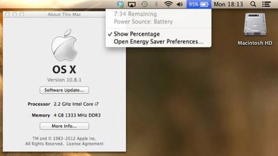 Apple phát hành OS X 10.8.1, cải thiện pin đáng kể