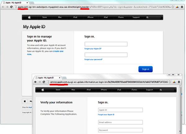 Giả website Apple để ăn cắp tài khoản người dùng
