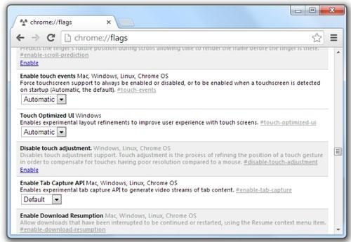 Trình duyệt Chrome cho máy tính hỗ trợ cảm ứng