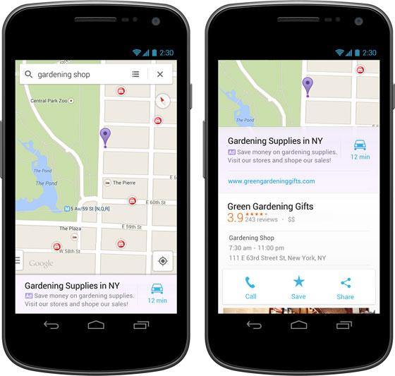 Google Maps đặt quảng cáo trong kết quả tìm kiếm trên ứng dụng di động