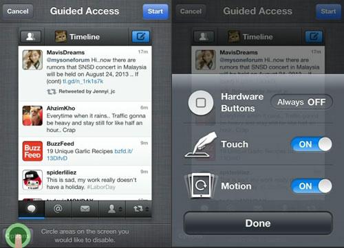 Vô hiệu hóa một vùng màn hình cảm ứng trên thiết bị iOS