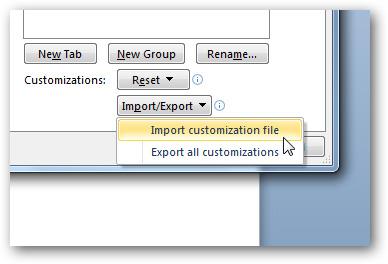Sao lưu và phục hồi thanh công cụ Ribbon của Office 2010