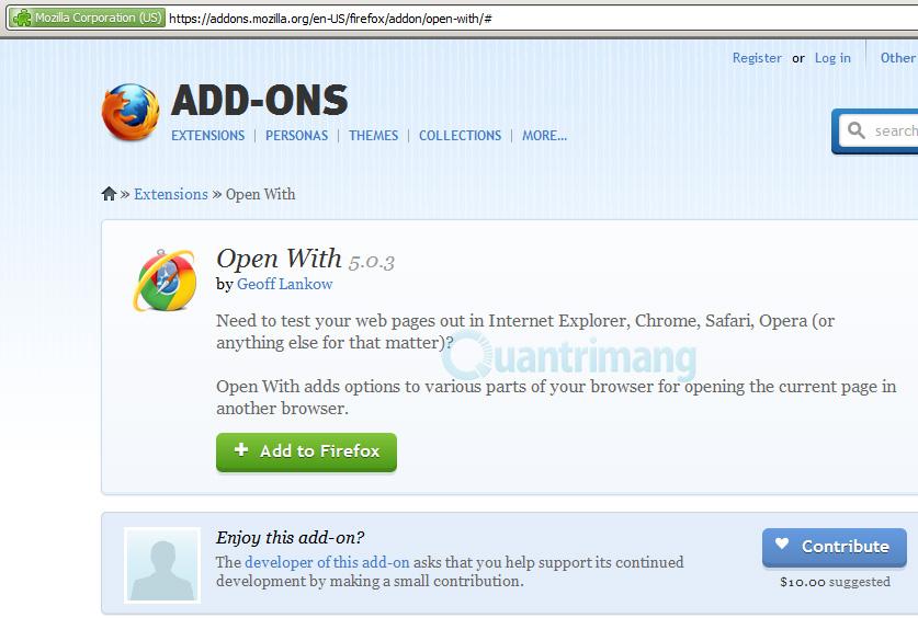 Cài đặt Extension vào Firefox