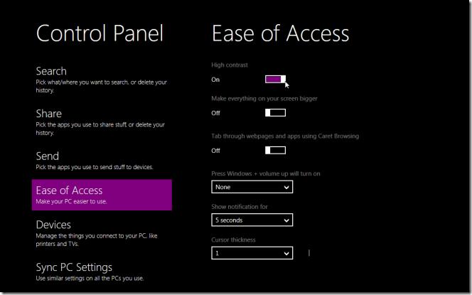 Đột nhập Control Panel Metro của Windows 8
