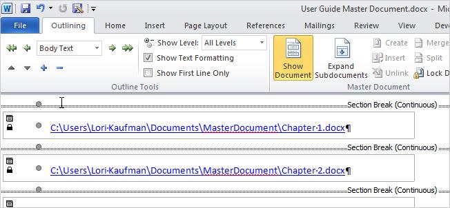 Tạo Master Document trong ứng dụng Microsoft Word
