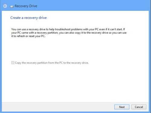 Tạo ổ đĩa USB phục hồi Windows 8
