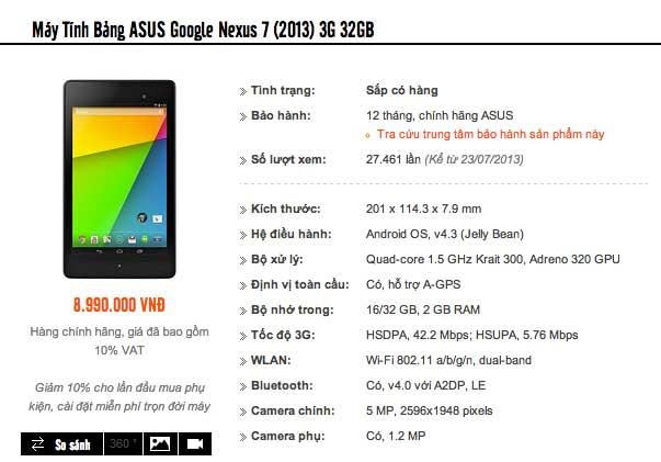 Nexus 7 Wi-Fi thế hệ 2 chính hãng giá 6 triệu đồng