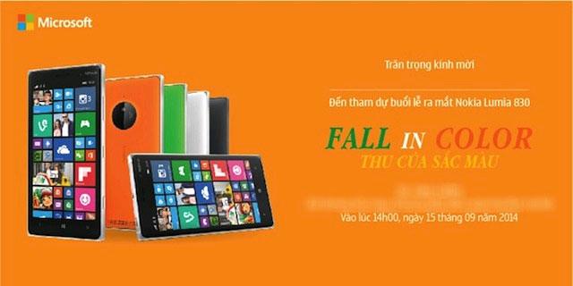 Lumia 830 sẽ có mặt tại Việt Nam vào ngày 15/9
