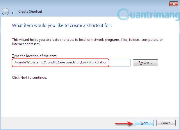 Tạo phím tắt để Lock máy tính bằng một cú Click
