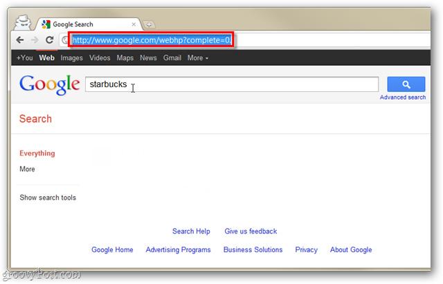 Tắt bỏ tính năng Instant Search của Google