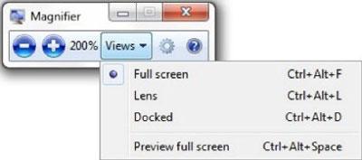Phóng to, thu nhỏ với công cụ sẵn có trong Windows