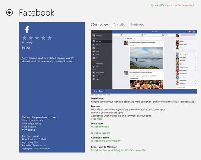 Đã có ứng dụng Facebook chính thức cho Windows 8.1
