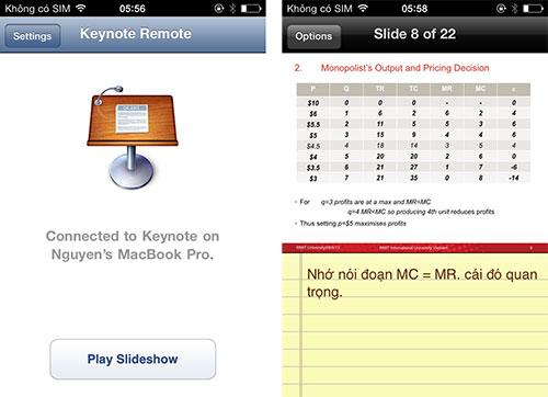 Ứng dụng Keynote Remote giúp điều khiển bài thuyết trình từ xa