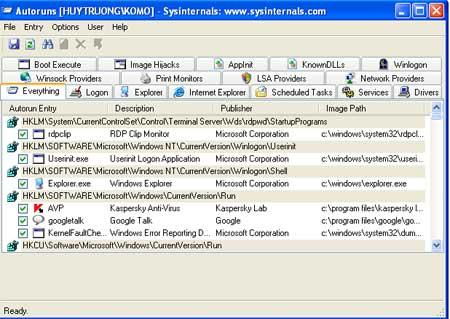 Diệt virus không cần phần mềm chuyên dụng Autoruns2