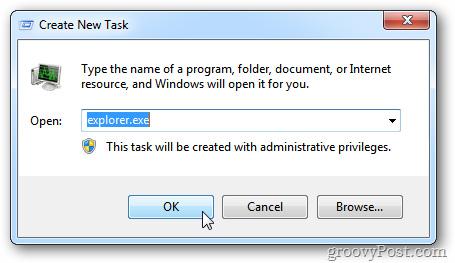 Khởi động lại Windows Explorer khi hệ thống bị treo