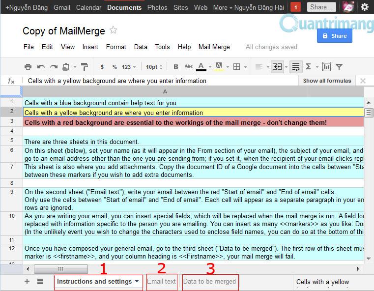 Các tab hướng dẫn trong Mail merge