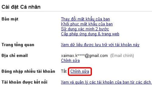 Đăng nhập nhiều tài khoản Gmail cùng lúc