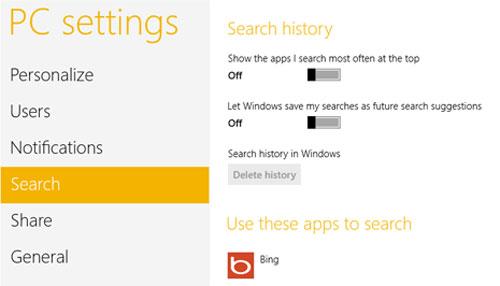 Xóa hoặc vô hiệu hóa lịch sử tìm kiếm trên Windows 8