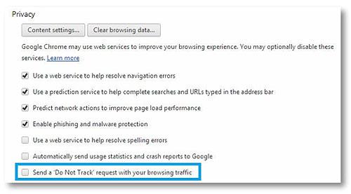 Tắt tính năng theo dõi trên Fifefox, Chrome