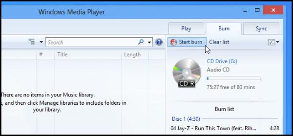 Cách ghi đĩa trong Windows 8