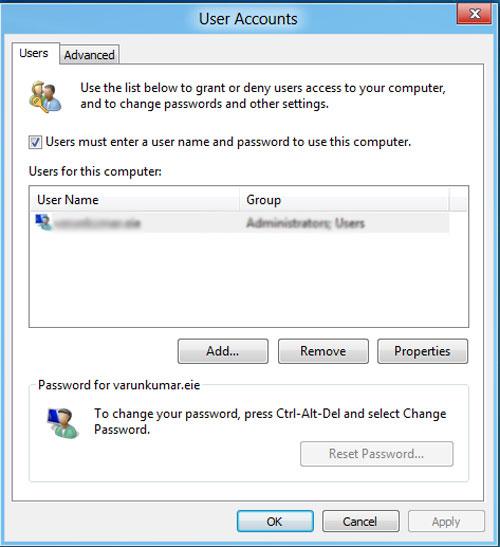 Bỏ qua màn hình đăng nhập Windows 8
