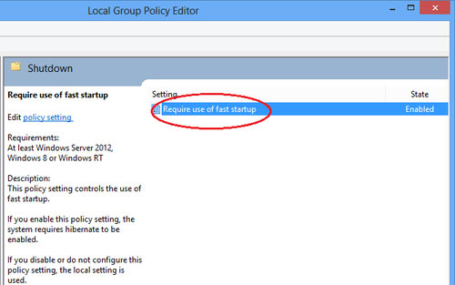 Disable the Fast Startup option on Windows 8
