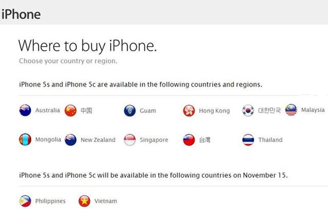 Apple đưa Việt Nam vào danh sách bán iPhone 5S từ 15/11