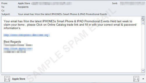 Xuất hiện email giả mạo tặng iPhone 5S miễn phí