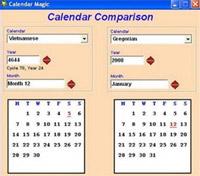 Khung Year ở bên phải chọn năm phù hợp. Đối với lịch Gregorian có thể chọn từ năm 1582 đến năm 9999